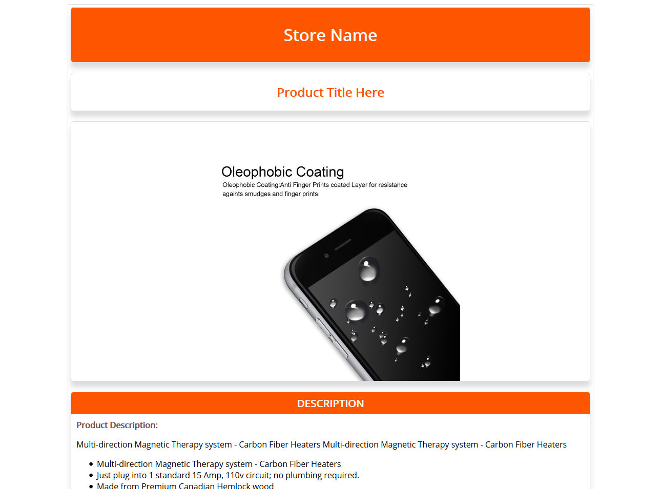 Free Ebay Html Listing Template And Product Description Template Orange 1 Shop Blueprint