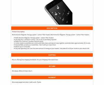 Free Ebay HTML Listing Template and Product Description Template : Orange-1