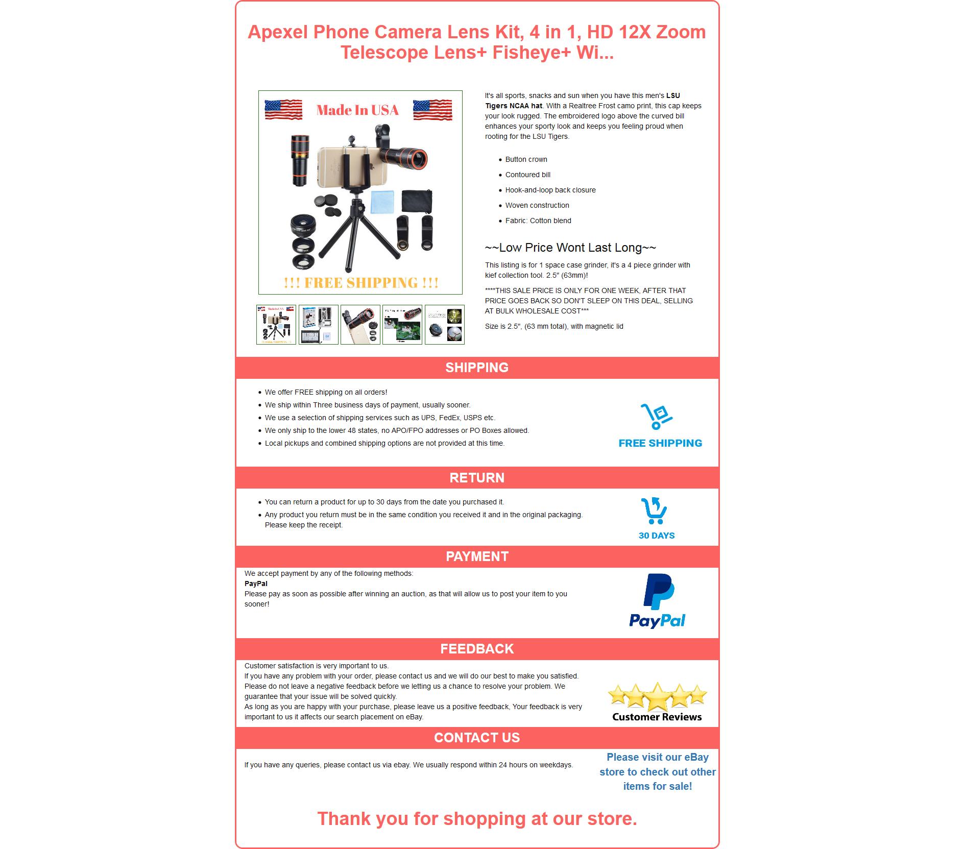 Mobile Responsive eBay HTML listing template
