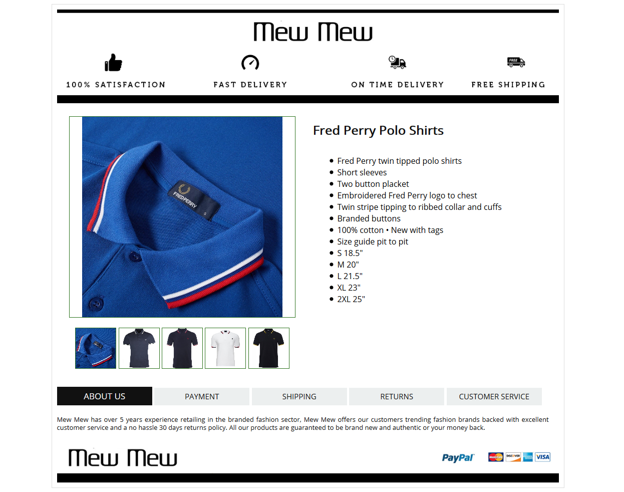 Minimal Mobile Responsive eBay HTML listing template