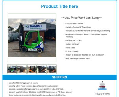 Mobile Responsive eBay HTML Listing Template : Robi